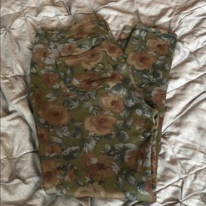 Large faded glory olive with pink roses jeggings
